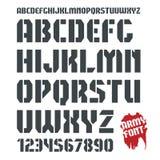 fonte e numeral militares da Estêncil-placa Imagens de Stock Royalty Free