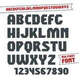 Fonte e numeral militares geométricos de Sans Serif Foto de Stock