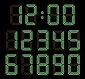 Fonte eletrônica do relógio no fundo preto Imagens de Stock Royalty Free