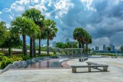 Fonte em Marina Barrage fotografia de stock