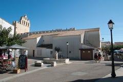 Fonte em Saintes central marie de la mer com o c fortificado Imagens de Stock Royalty Free