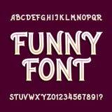 Fonte engraçada do alfabeto Mão caixa letras e números tirados ilustração do vetor