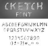 Fonte escrita à mão do alfabeto de Pensil Fotografia de Stock