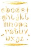 Fonte especial do respingo do café, letras pequenas do a-z do ABC Fotos de Stock