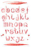 Fonte especial do respingo do vinho tinto, letras pequenas do a-z do ABC Fotos de Stock Royalty Free