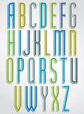 Fonte estreita animado colorida, letras de caixa cômicas com whi Imagens de Stock