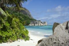 Fonte fabulosa D'Argent de Anse da praia Foto de Stock