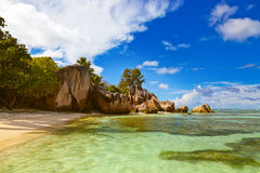 Fonte famosa da praia d'Argent em Seychelles Imagem de Stock Royalty Free