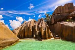 Fonte famosa da praia d'Argent em Seychelles Fotografia de Stock
