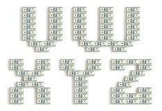 Fonte feita de blocos do dólar. Foto de Stock Royalty Free