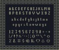 Fonte feita malha Natal Alfabeto latino no fundo sem emenda Fotografia de Stock Royalty Free