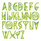 Fonte floreale verde di alfabeto Immagini Stock