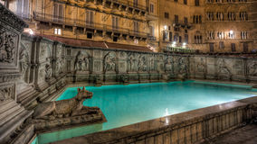 Fonte Gaia, Siena, Italië - HDR Stock Afbeelding