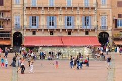 Fonte Gaia su Piazza del Campo - Siena Fotografia Stock Libera da Diritti