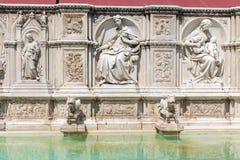 Fonte Gaia w piazza Del Campo w centrum Siena, I Zdjęcia Stock