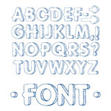 Fonte gráfica Fonte feito a mão de Sans Serif, linhas finas Alfabeto tirado mão da rotulação da caligrafia Ilustração do vetor le Imagens de Stock Royalty Free