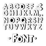 Fonte gráfica Fonte feito a mão de Sans Serif, linhas finas Alfabeto tirado mão da rotulação da caligrafia Ilustração do vetor le Foto de Stock