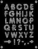 Fonte gráfica Fonte feito a mão de Sans Serif, linhas finas Alfabeto tirado mão da rotulação da caligrafia Ilustração do vetor le Imagem de Stock