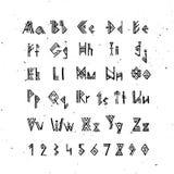 Fonte idosa do escandinavo dos noruegueses Alfabeto rúnico, letras do estilo do futhark Símbolos ocultos antigos, letras de viqui Fotografia de Stock Royalty Free
