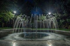 Fonte iluminada com luzes Foto de Stock