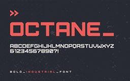Fonte industriale audace dell'esposizione di stile di vettore, typefac blocky moderno royalty illustrazione gratis