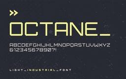 Fonte industriale leggera dell'esposizione di stile di vettore, typefa blocky moderno illustrazione vettoriale