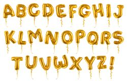 Fonte inflável dourada dos balões do brinquedo grupo real?stico do vetor 3d Letras de ? Z ilustração do vetor