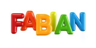 Fonte isolada do balão do nome da criança do colorfull 3d Fabian ilustração do vetor