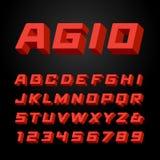 Fonte isométrica Alfabeto do vetor ilustração do vetor