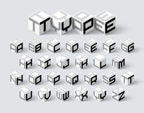 Fonte isométrica da forma 3d do cubo ilustração royalty free