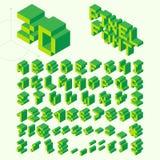 Fonte isométrica do pixel, letras do vetor, alfabeto Foto de Stock