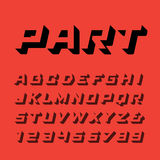 Fonte isométrica Vector o alfabeto com letras e numbe do efeito 3d Imagem de Stock Royalty Free
