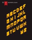 Fonte isometrica di alfabeto Fotografie Stock Libere da Diritti