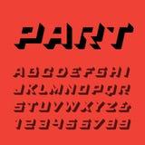 Fonte isometrica Vector l'alfabeto con le lettere e il numbe di effetto 3d Immagine Stock Libera da Diritti
