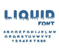 Fonte líquida Alfabeto do Aqua letras viscosos Vetor ilustração do vetor