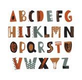 Fonte latin na moda ou mão decorativa do alfabeto inglês tirada no fundo branco Letras textured criativas arranjadas dentro ilustração royalty free