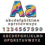 Fonte linear Vector o alfabeto com letras e números do efeito das listras Foto de Stock