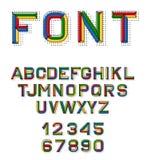 Fonte lineare di vettore retro fonte di alfabeto di 80 s Colori l'alfabeto nel retro stile per la progettazione del vostro proget Immagini Stock Libere da Diritti