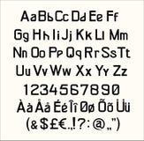 Fonte, linha gráfica letra do texto do alfabeto colorida, exato, latino ilustração stock