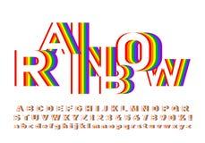 Fonte luminosa e variopinta nei colori dell'arcobaleno immagini stock libere da diritti