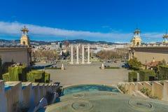 Fonte mágica de Montjuic na Espanha de Barcelona fotografia de stock