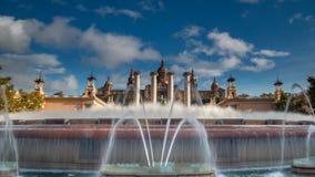 Fonte Magica e Palau Nacional Fotografia de Stock