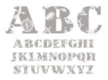 Fonte marinha, cinza, alfabeto inglês, vetor ilustração stock