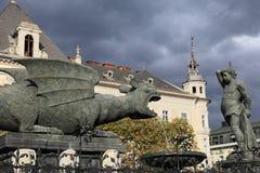 Fonte medieval de Lindworm Foto de Stock