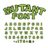 Fonte mutante Alfabeto comico approssimativo verde nello stile ABC astratto Fotografia Stock