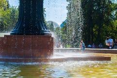Fonte na arboreto-exposição da cidade em Yekaterinburg, Rússia, ajardinando a vista Fotos de Stock Royalty Free