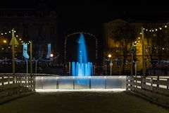 Fonte na noite - Zagreb de Mandusevac, Croácia fotografia de stock royalty free