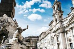 Fonte na praça Navona em Roma Fotografia de Stock Royalty Free