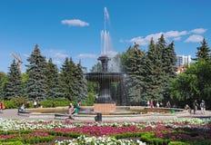Fonte no arboreto de Yekaterinburg, Rússia Fotografia de Stock