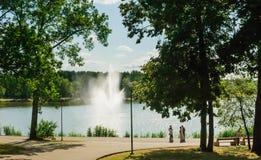 Fonte no lago Druskonis Recurso Druskininkai foto de stock royalty free